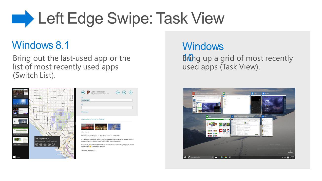 Left Edge Swipe: Task View