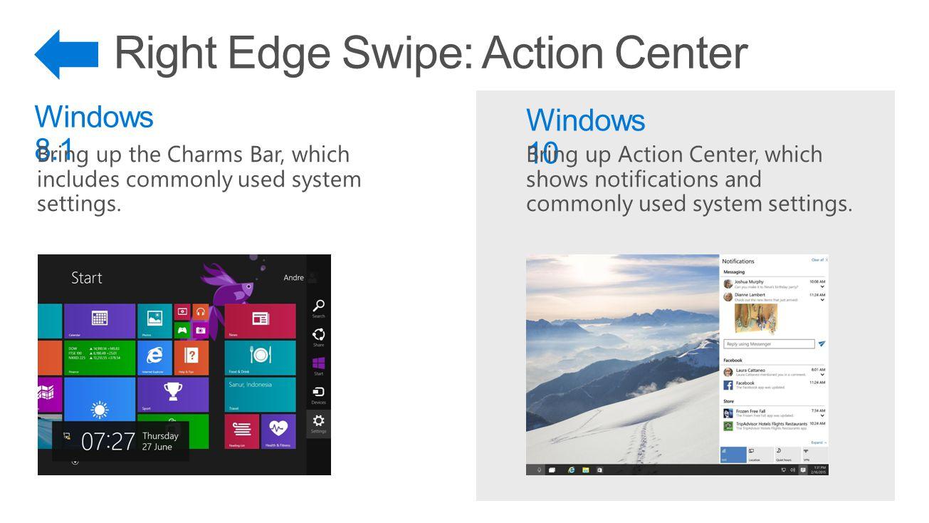 Right Edge Swipe: Action Center