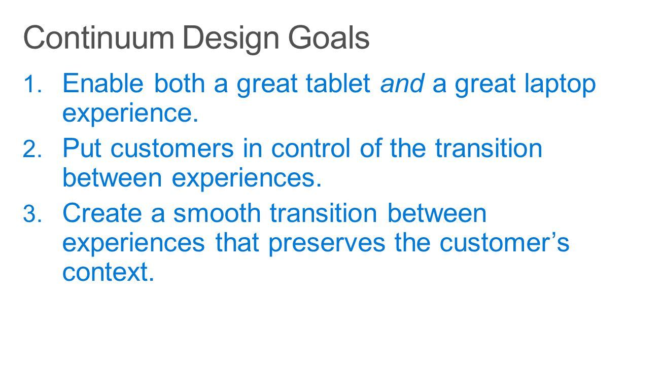Continuum Design Goals