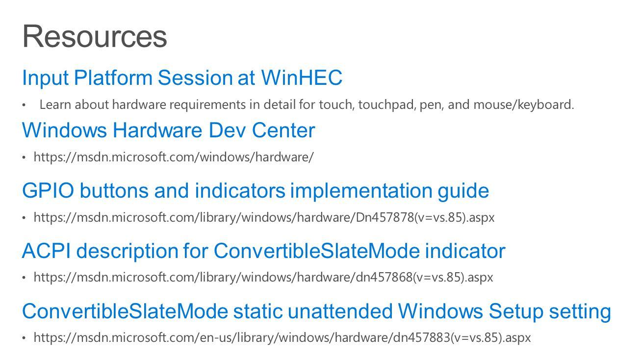 Resources Input Platform Session at WinHEC Windows Hardware Dev Center