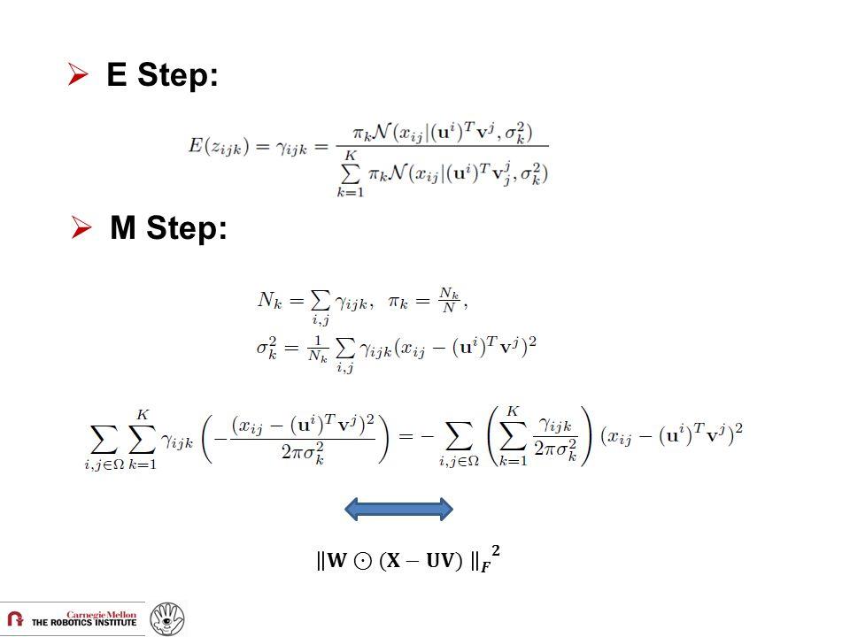 E Step: M Step: 𝐖⊙(𝐗−𝐔𝐕) 𝑭 𝟐