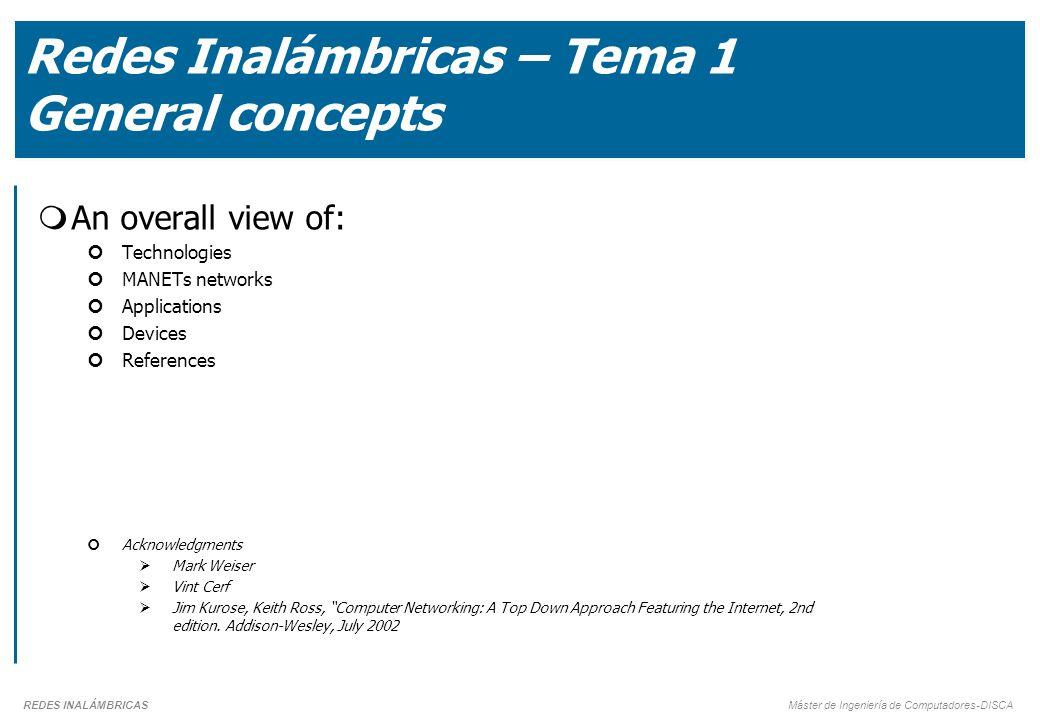 Redes Inalámbricas – Tema 1 General concepts
