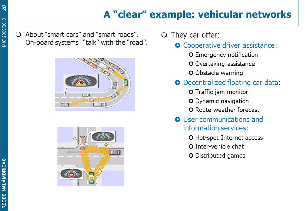 A clear example: vehicular networks