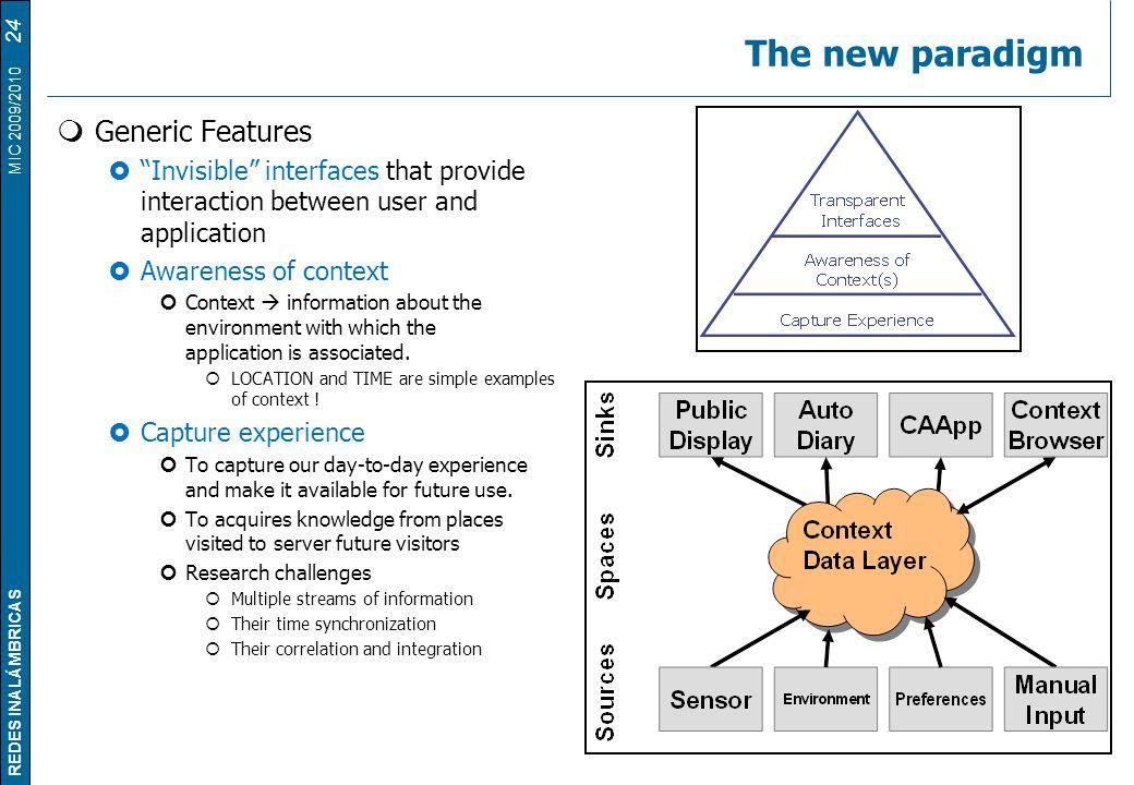 The new paradigm Generic Features