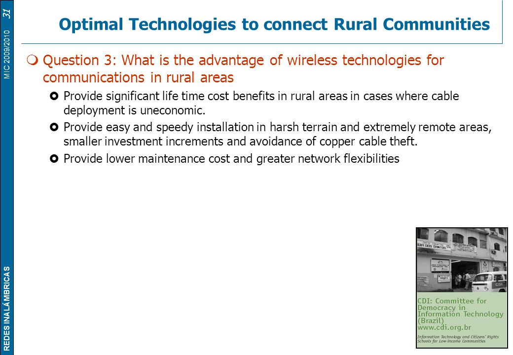 Optimal Technologies to connect Rural Communities