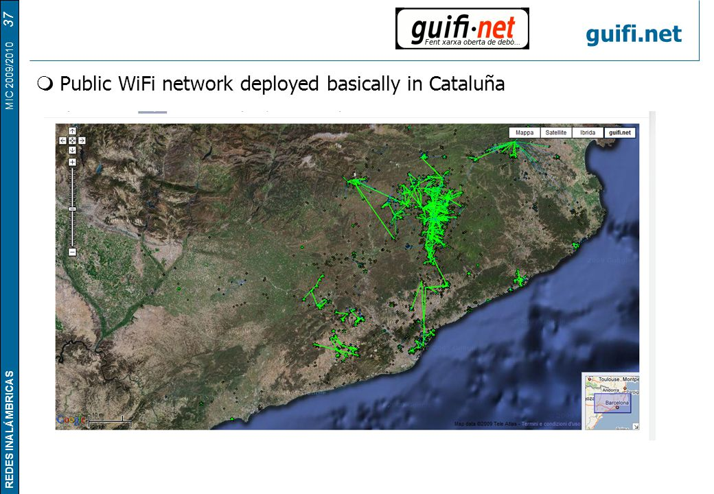guifi.net Public WiFi network deployed basically in Cataluña