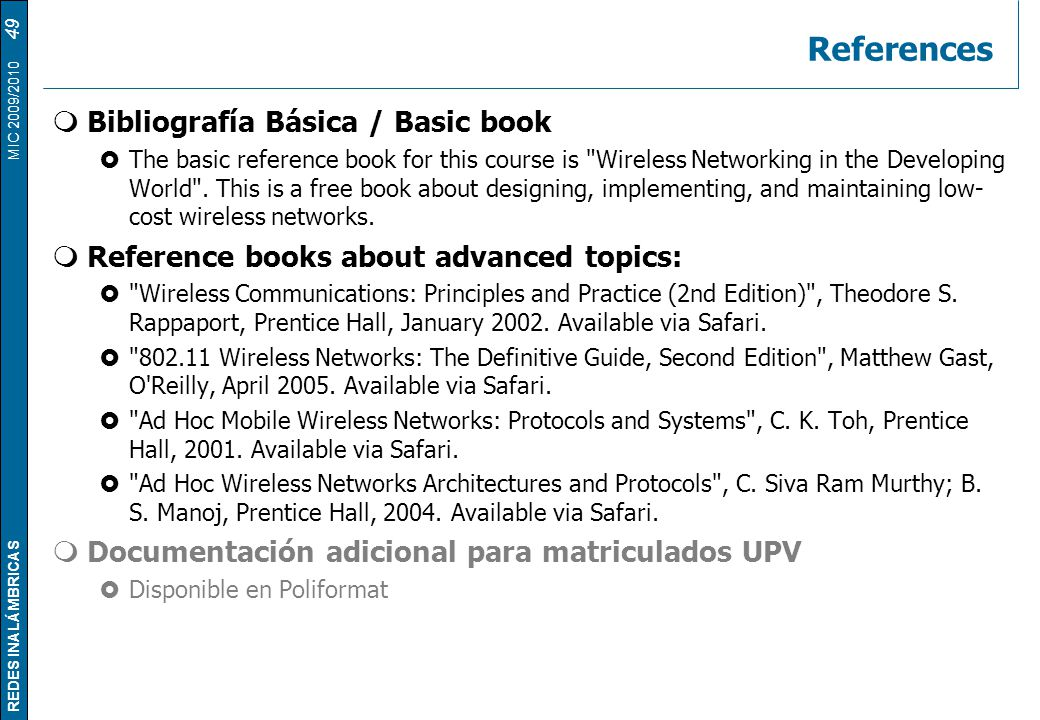References Bibliografía Básica / Basic book