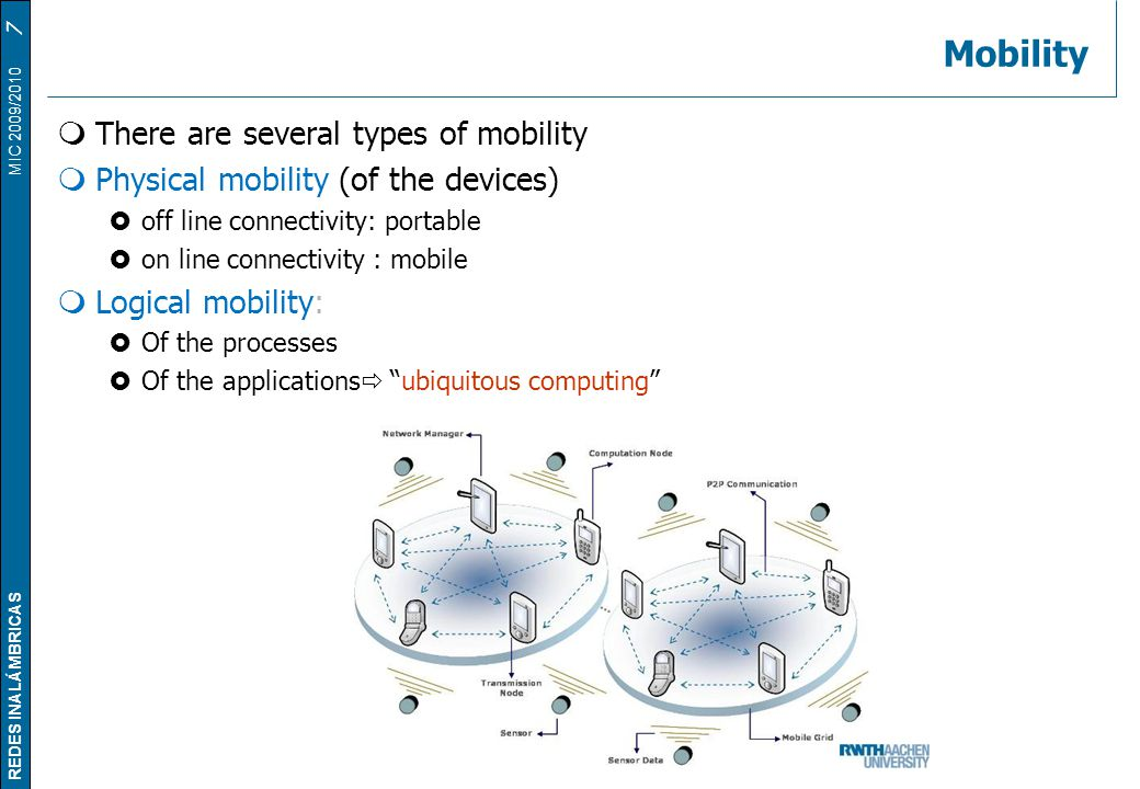 Mobility There are several types of mobility