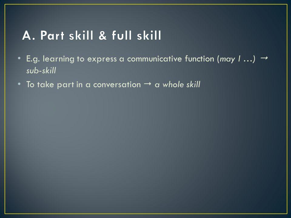 A. Part skill & full skill