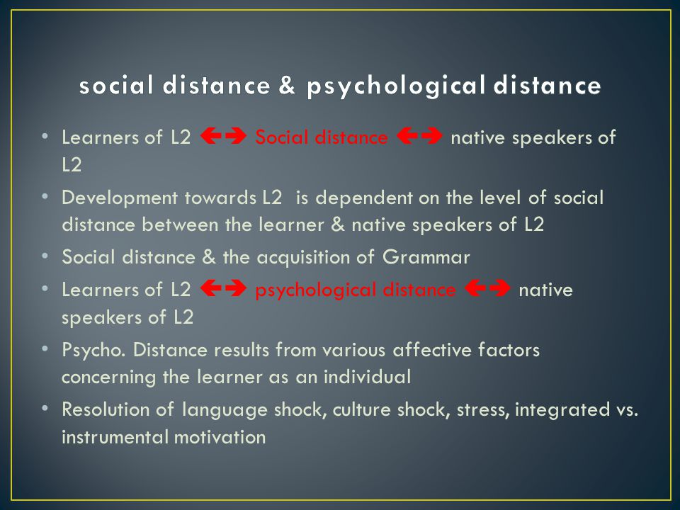 social distance & psychological distance