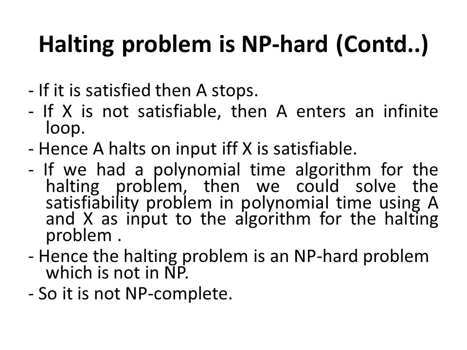 Halting problem is NP-hard (Contd..)