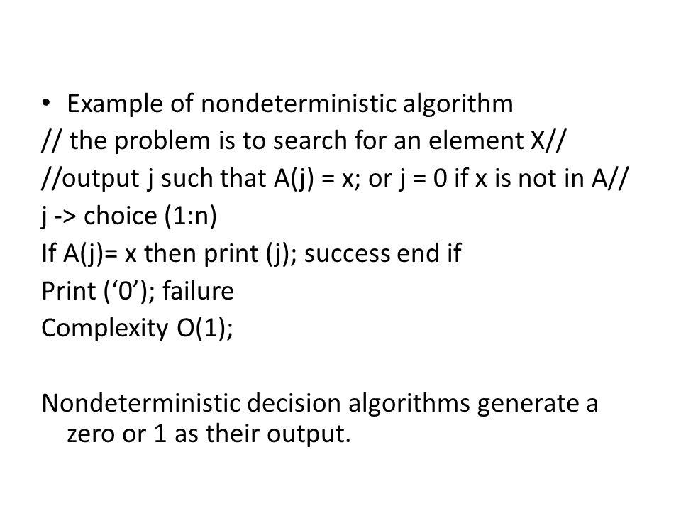 Example of nondeterministic algorithm