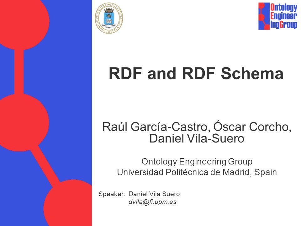 RDF and RDF Schema Raúl García-Castro, Óscar Corcho, Daniel Vila-Suero