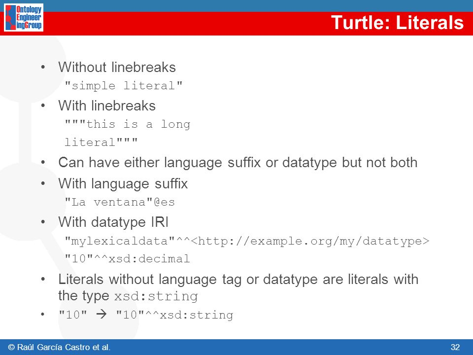 Turtle: Literals Without linebreaks With linebreaks