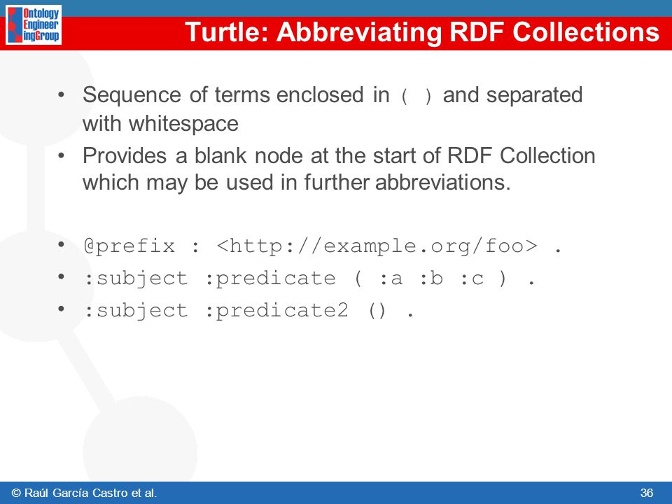 Turtle: Abbreviating RDF Collections