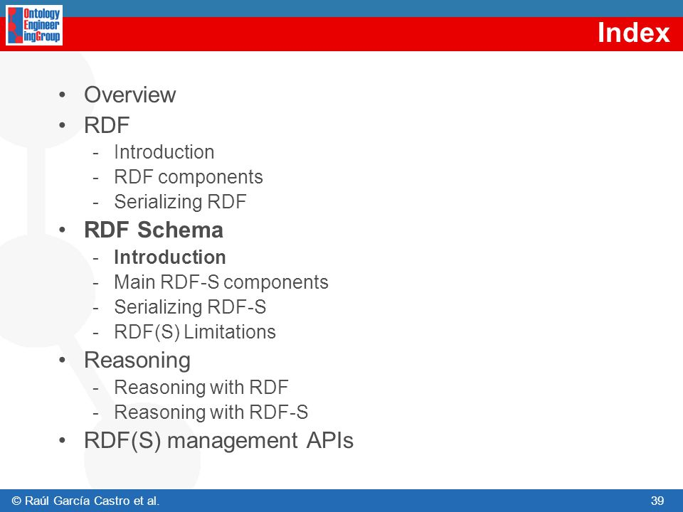 Index Overview RDF RDF Schema Reasoning RDF(S) management APIs