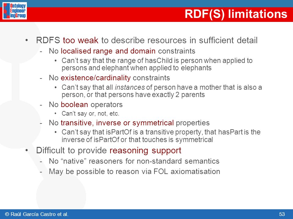 RDF(S) limitations RDFS too weak to describe resources in sufficient detail. No localised range and domain constraints.