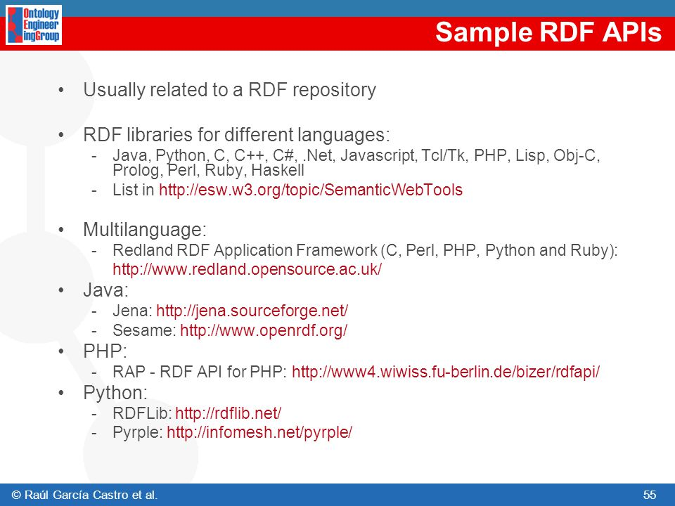 Sample RDF APIs Usually related to a RDF repository