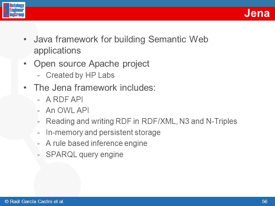 Jena Java framework for building Semantic Web applications