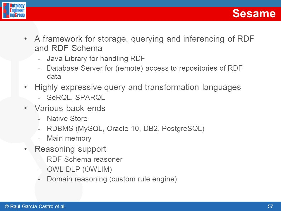 Sesame A framework for storage, querying and inferencing of RDF and RDF Schema. Java Library for handling RDF.