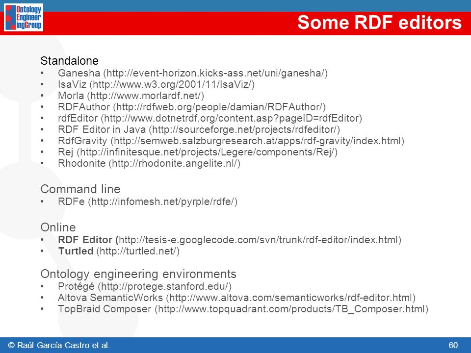 Some RDF editors Command line Online Ontology engineering environments