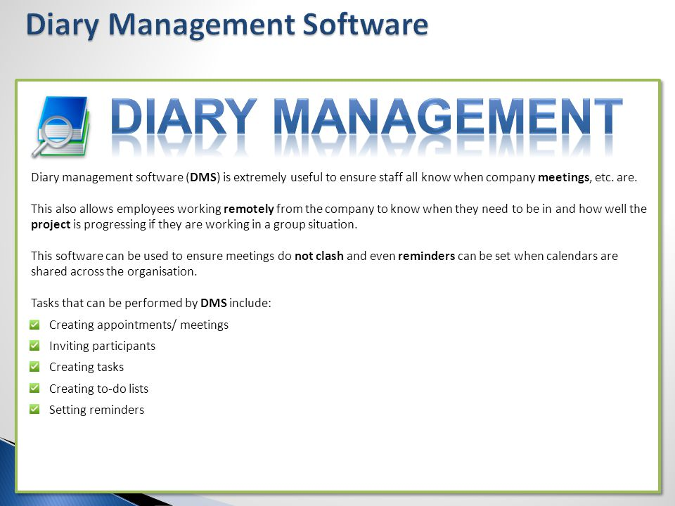 Diary Management Software