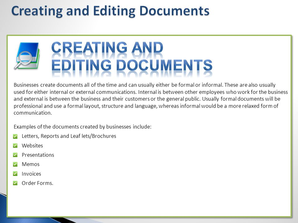 Creating and Editing Documents