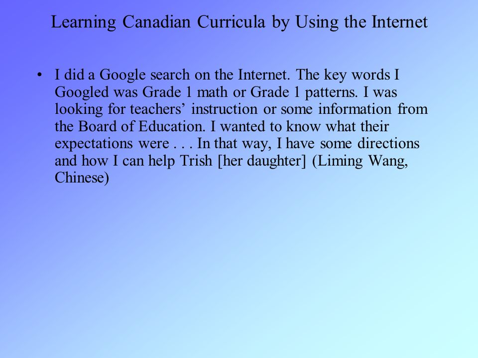 Learning Canadian Curricula by Using the Internet