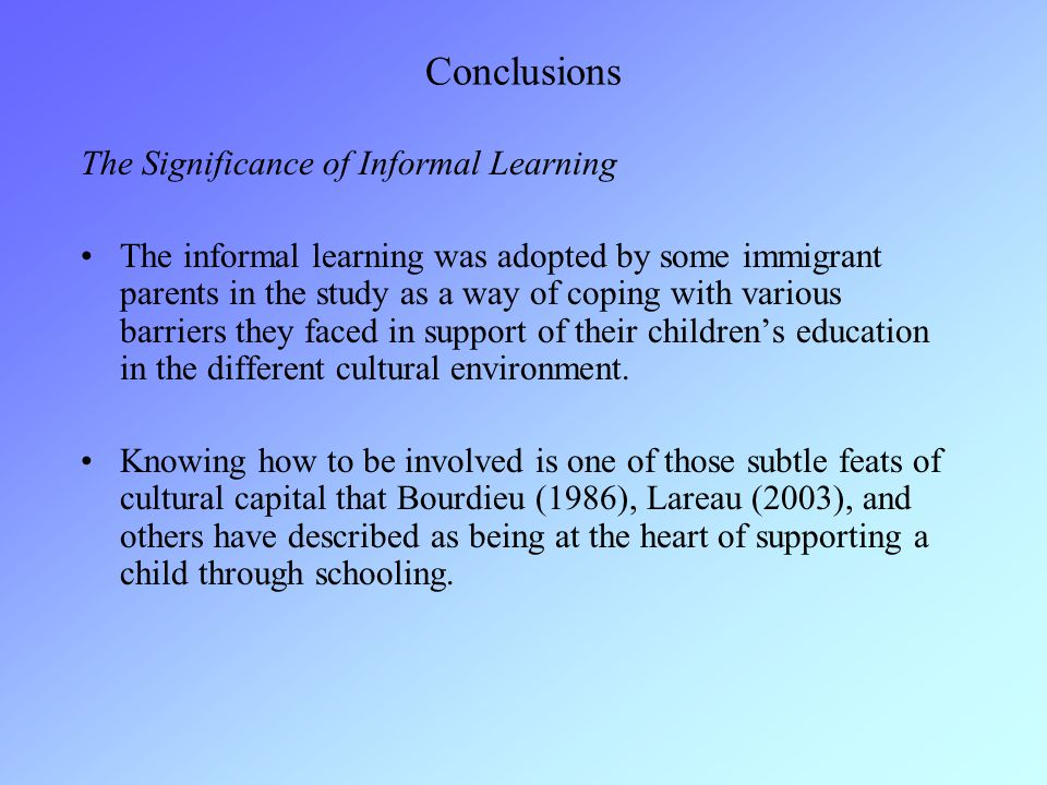 Conclusions The Significance of Informal Learning