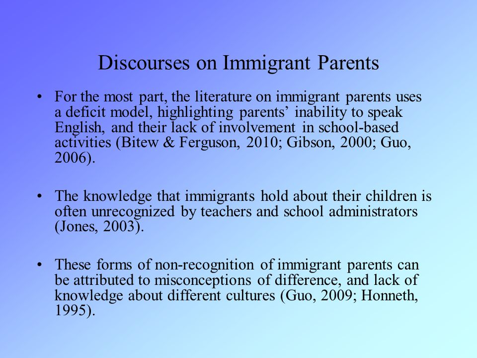 Discourses on Immigrant Parents