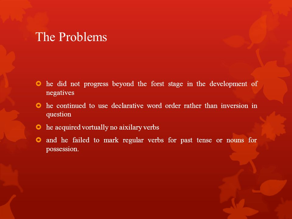 The Problems he did not progress beyond the forst stage in the development of negatives.