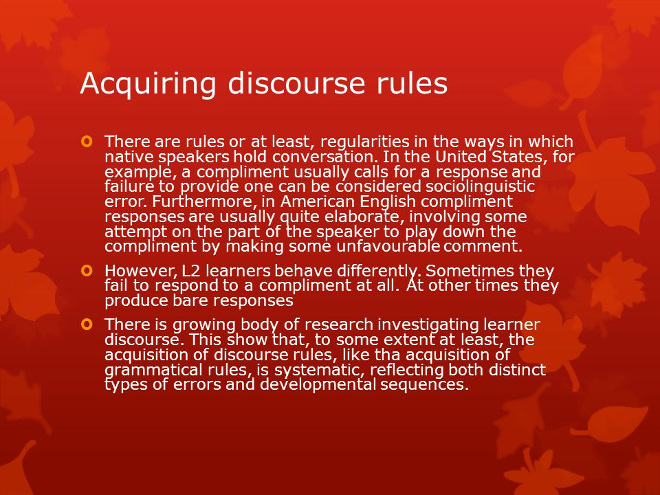 Acquiring discourse rules