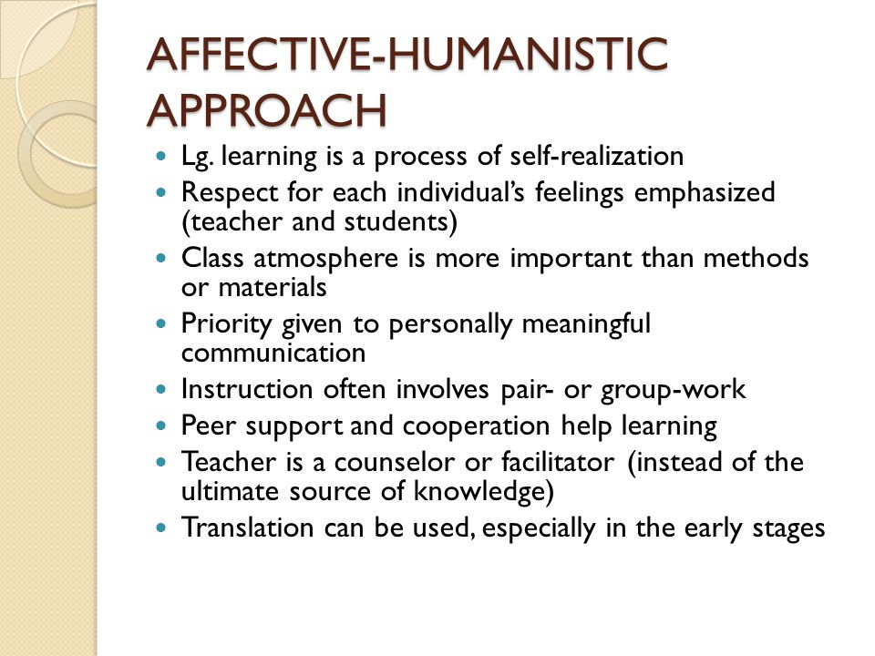 AFFECTIVE-HUMANISTIC APPROACH