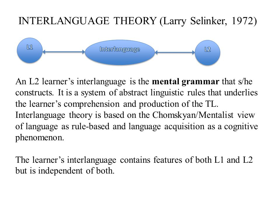 INTERLANGUAGE THEORY (Larry Selinker, 1972)
