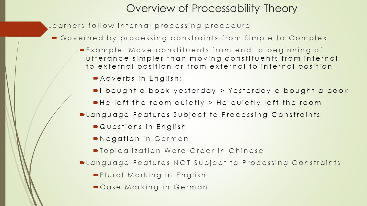 Overview of Processability Theory