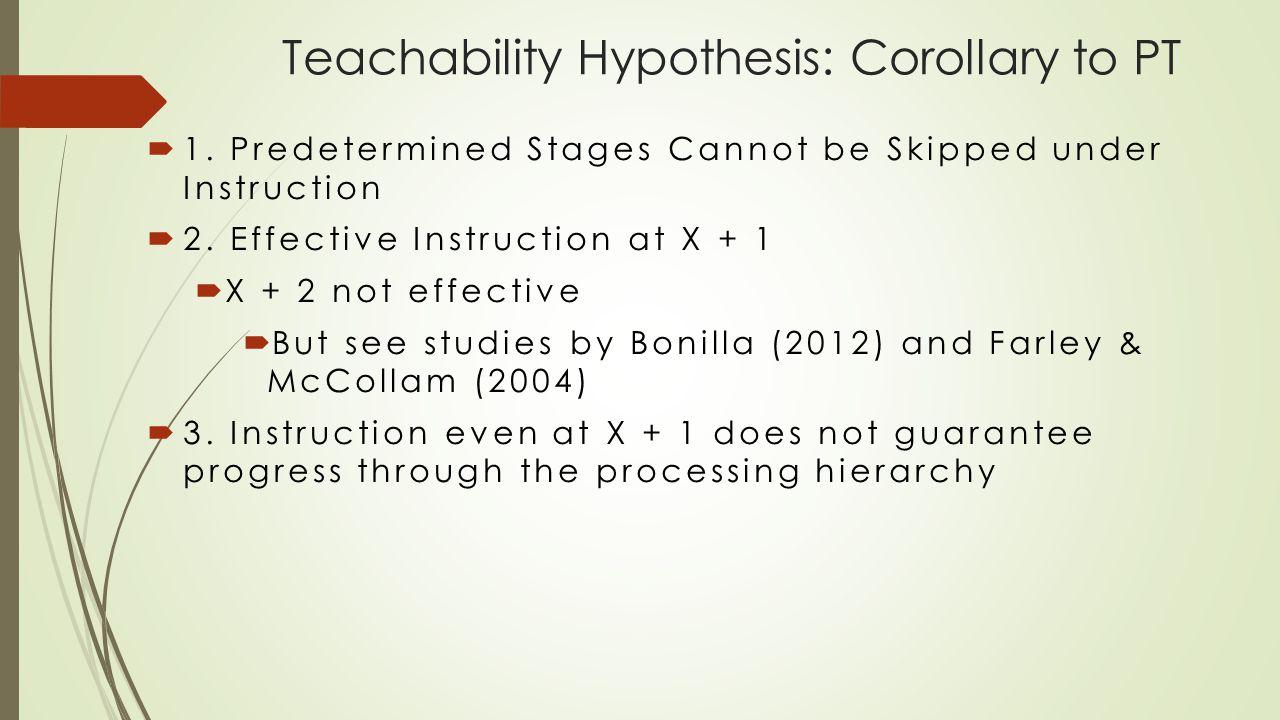 Teachability Hypothesis: Corollary to PT