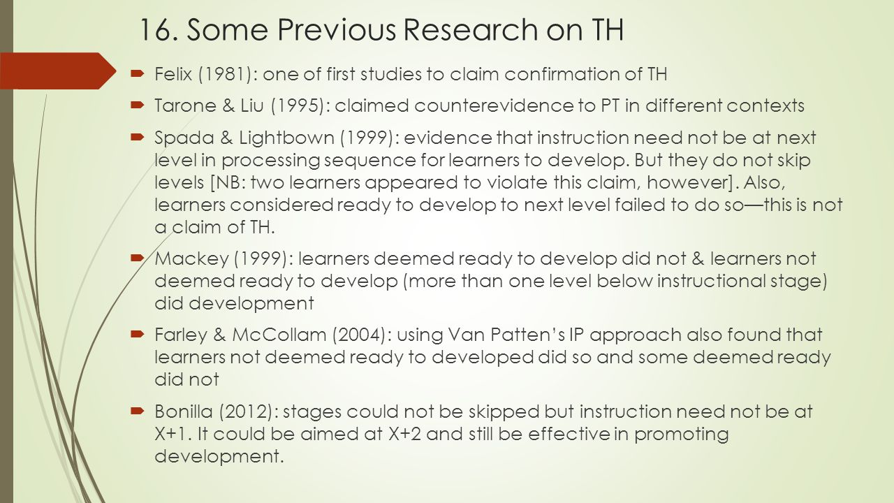 16. Some Previous Research on TH