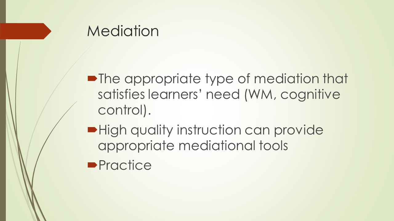 Mediation The appropriate type of mediation that satisfies learners' need (WM, cognitive control).