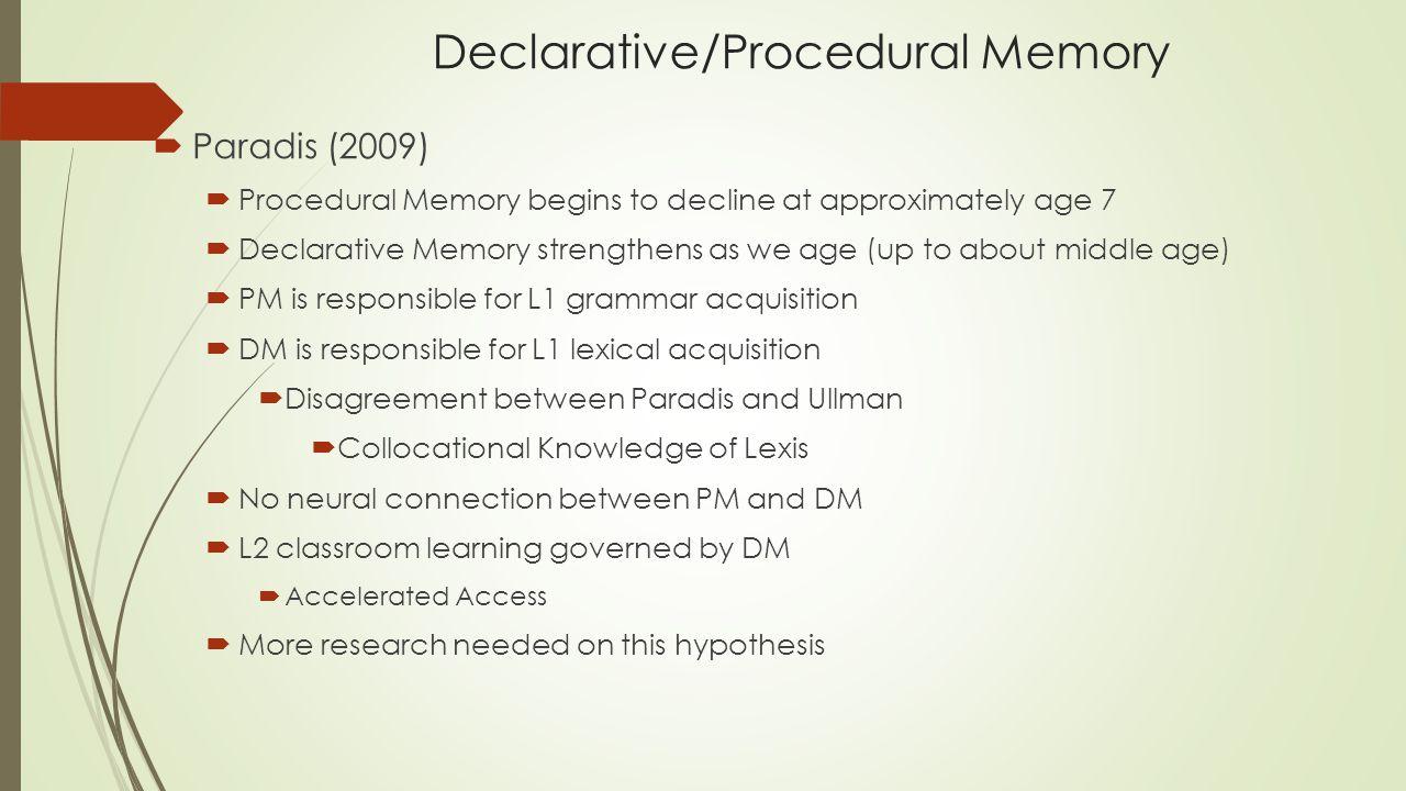 Declarative/Procedural Memory