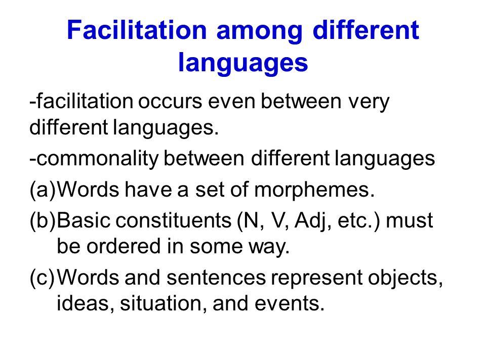 Facilitation among different languages