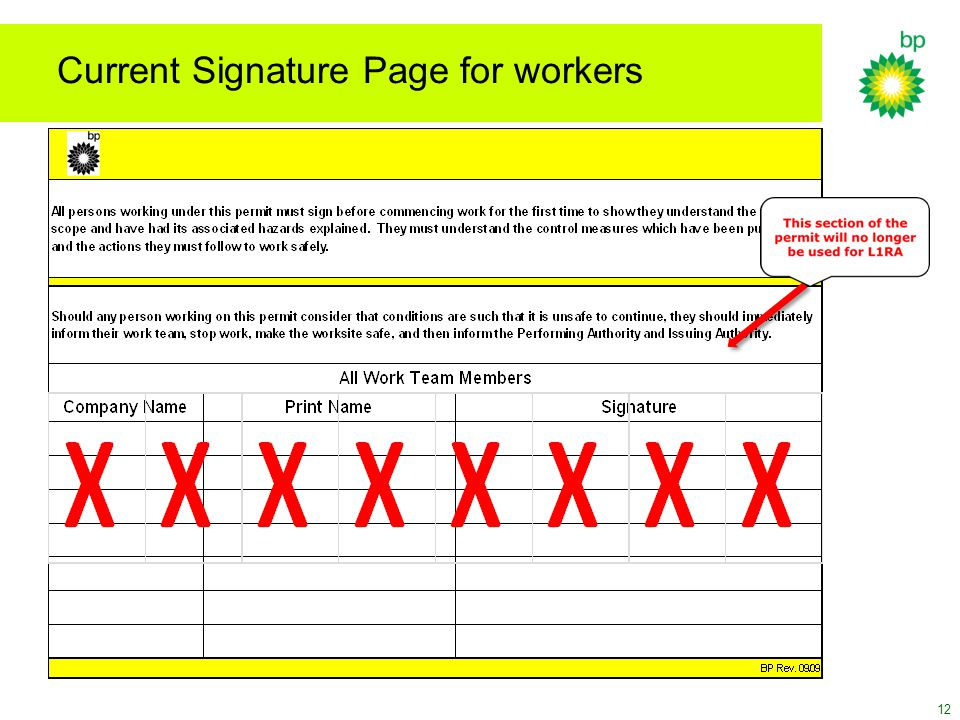 Current Signature Page for workers
