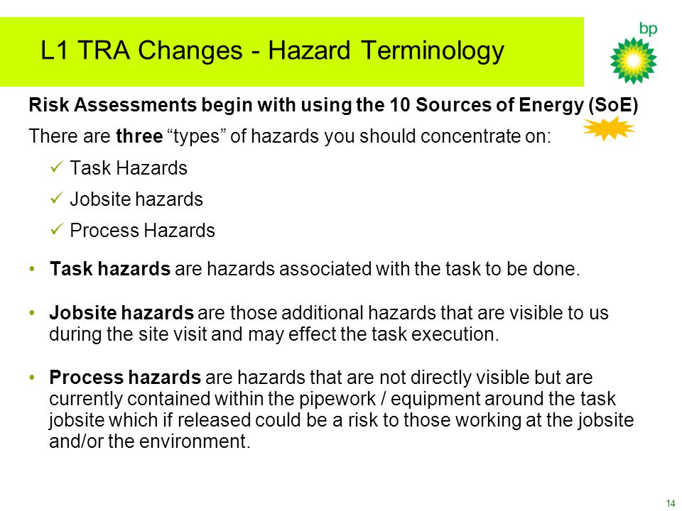 L1 TRA Changes - Hazard Terminology