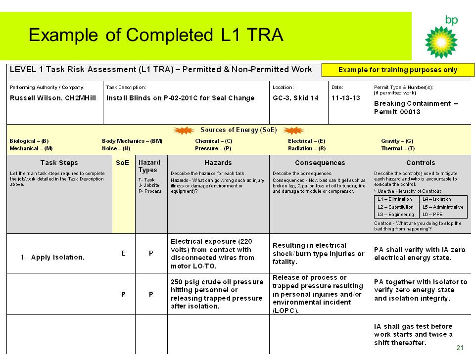 Example of Completed L1 TRA