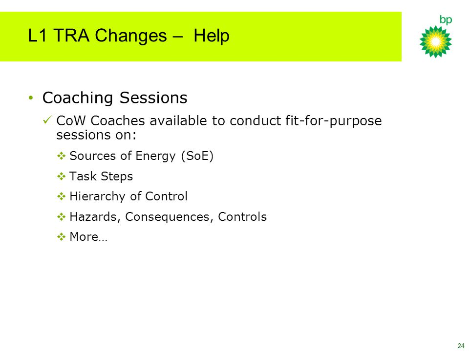 L1 TRA Changes – Help Coaching Sessions