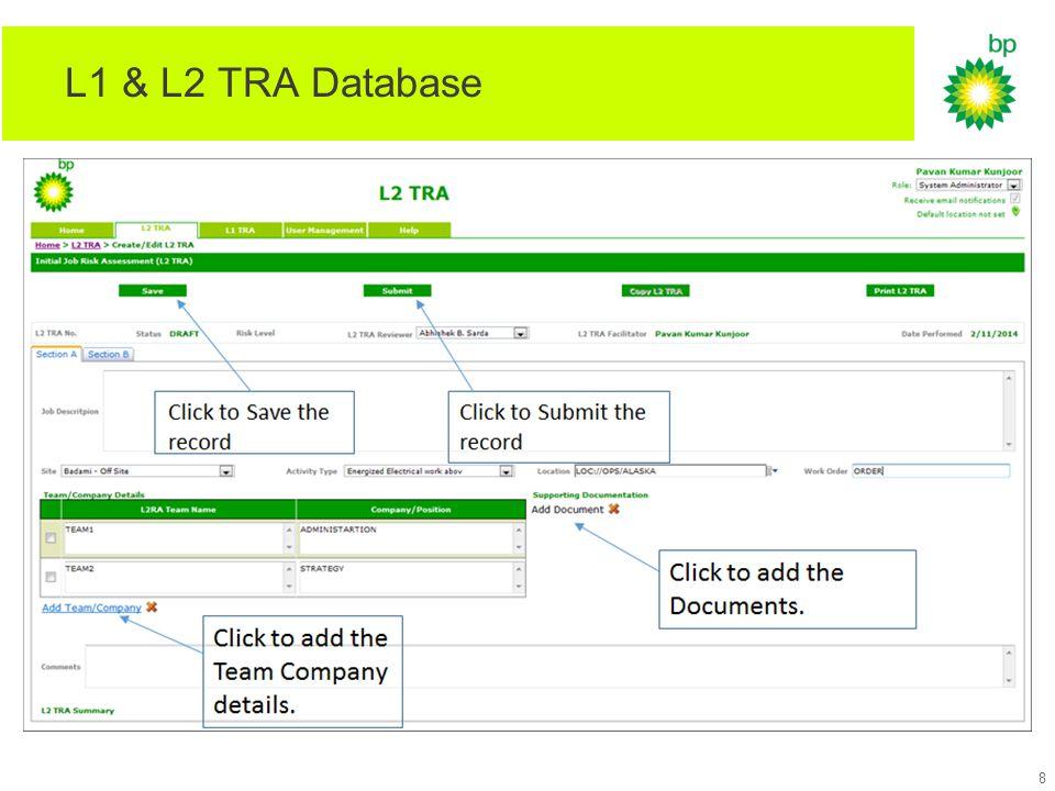 L1 & L2 TRA Database