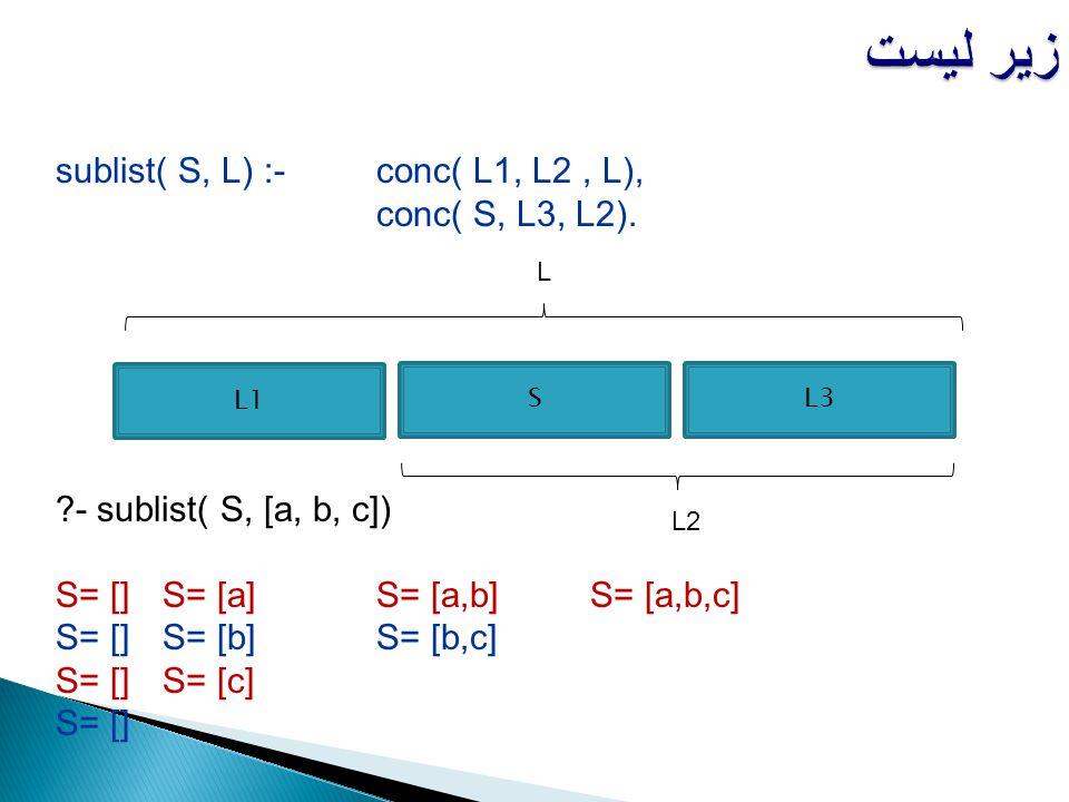 زیر لیست sublist( S, L) :- conc( L1, L2 , L), conc( S, L3, L2).