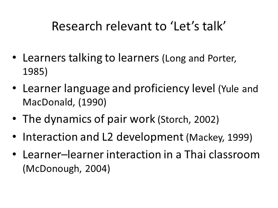 Research relevant to 'Let's talk'