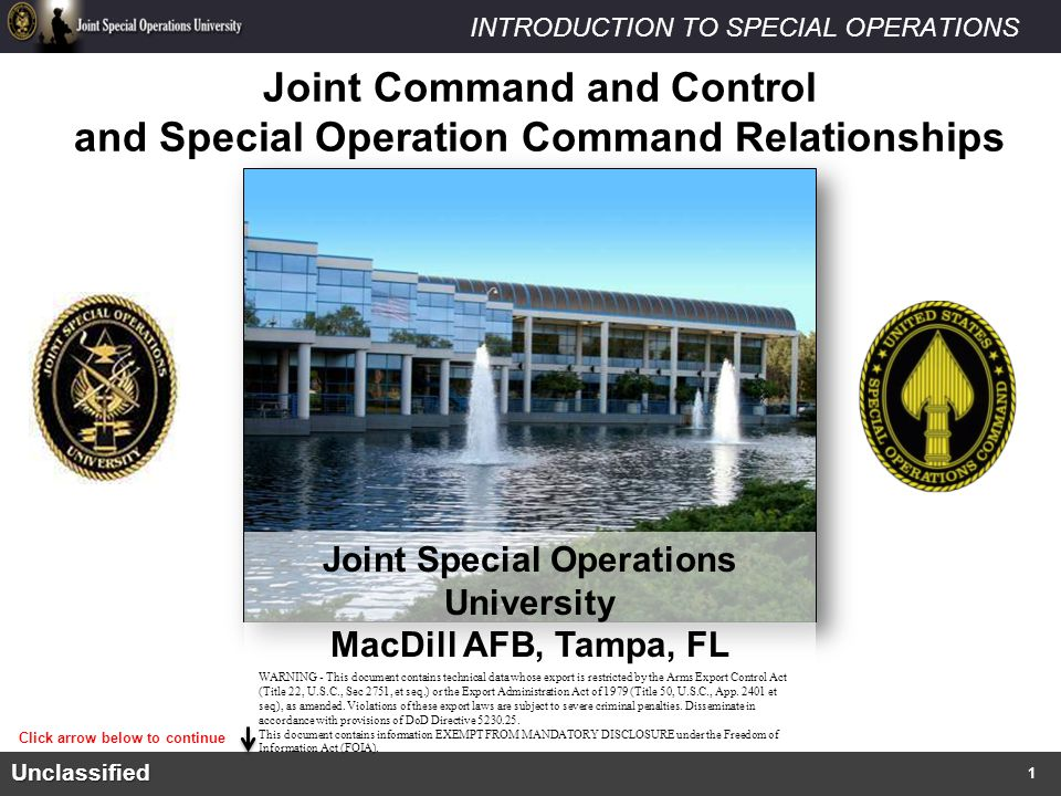 Joint Command and Control and Special Operation Command Relationships