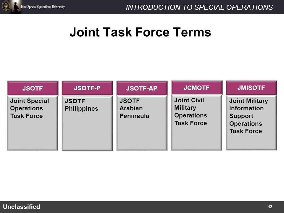 Joint Task Force Terms JSOTF JSOTF-P JSOTF-AP JCMOTF JMISOTF