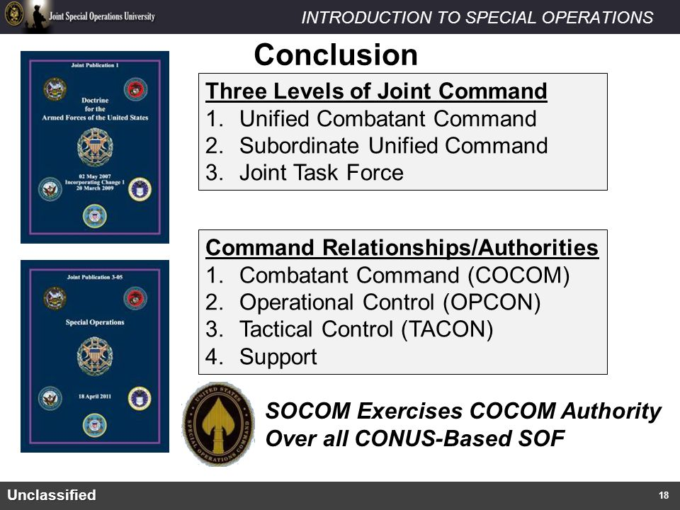Conclusion Three Levels of Joint Command Unified Combatant Command